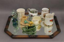 A small quantity of ceramics and glass, including Sylvac,