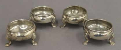 Two pairs of Georgian silver salts. Each approximately 4 cm high. 13.1 troy ounces.