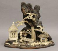 A 19th century Japanese carved antler, bone,