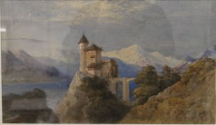 E E WEST, Continental Castle in a Mountainous Landscape, watercolour, signed, framed and glazed.
