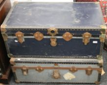 Two vintage travelling trunks
