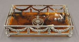 A small silver plate mounted tray. 22 cm wide.