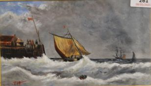Ships in Rough Seas, oil on board, signed with initials J.H, framed and glazed. 20.5 x 12 cm.
