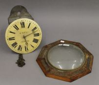 A Victorian brass inlaid postman's alarm clock. 31 cm wide.