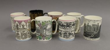 A collection of various Wedgwood mugs.