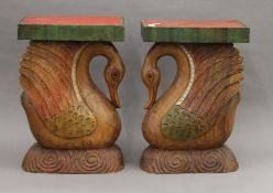 Two carved wooden duck plinths. Each 49.5 cm high.