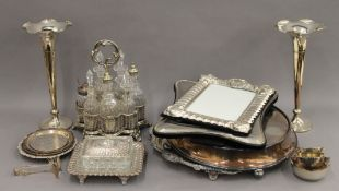 A quantity of various silver plate and some small silver items.