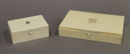 Two Victorian ivory boxes. The smallest 8 cm wide.