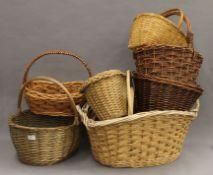 Nine wicker baskets. The largest 60 cm wide.