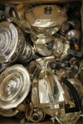 A quantity of silver plated tea sets.