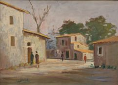 Italian Village Scene, oil on board, signed GIAMELLI, framed. 68 x 49 cm.