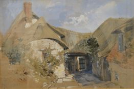 WILLIAM WILTHEW FENN (1827-1906) British, Thatched Cottage Exterior, watercolour, signed,