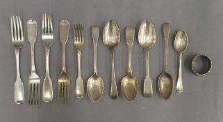A quantity of silver flatware and a napkin ring. 19.2 troy ounces.