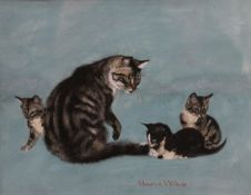 MAURICE WILSON (1914-1987) British, Cat with Three Kittens, watercolour,