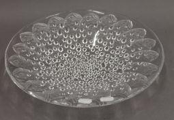A Lalique style glass poisson dish. 35 cm diameter.