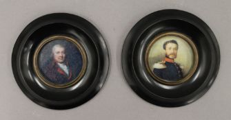 A pair of framed miniatures. 13 cm wide.