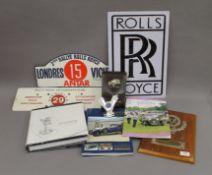 A quantity of Classic Car Rally memorabilia, including Rolls Royce.