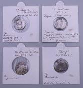 Four silver Roman coins, various dates.