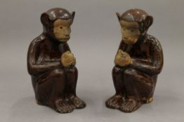 A pair of pottery censers formed as monkeys. Each 15 cm high.