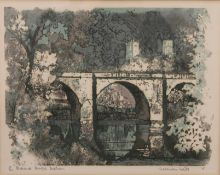 NORMAN WADE (20th century) British, Prebends Bridge, Durham, limited edition print, numbered 43/300,