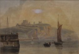 19TH CENTURY SCHOOL, Boats Leaving Dover Harbour with Castle Beyond, watercolour, unsigned,