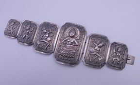 A Chinese silver bracelet. 18 cm long. 55.6 grammes.
