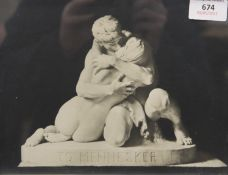Two photographs of sculptures by Stephen Sinding, framed and glazed,