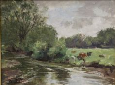 Cows by a River, oil on canvas, indistinctly signed, framed. 25 x 10 cm.