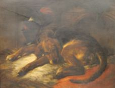 19TH CENTURY, Sleeping Dog, oil on canvas, framed. 90 x 70.5 cm.