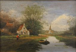 Dutch Canal Scene, oil on board, indistinctly signed, framed. 24 x 17 cm.