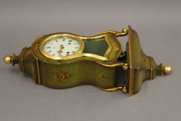 A Swiss florally decorated bracket clock and bracket. The former 30.5 cm high.