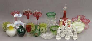 A quantity of various coloured glass and ceramics