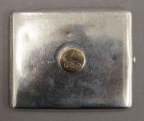 A silver cigarette case. 9.5 cm wide. 4 troy ounces.