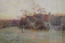 GEORGE OYSTON, Cottage Scene, watercolour, signed and dated 1911, framed and glazed. 51 x 33 cm.