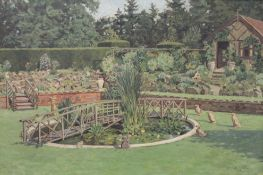 S W BARWELL, Garden Scene, oil on canvas, signed and dated 1936, framed. 75 x 50 cm.