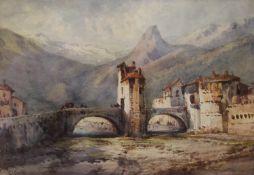 GABRIEL CARELLI, Saspello (Franco/Italian Border), watercolour, signed, framed and glazed. 24.
