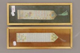 Two Stevengraphs bookmarks, each framed and glazed. 13 x 38 cm overall.