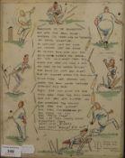A Cricket Cartoon, framed and glazed. 25.5 x 32.5 cm overall.