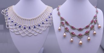 A paste necklace and a bead collar necklace. The former 42 cm long, the latter 44.5 cm long.