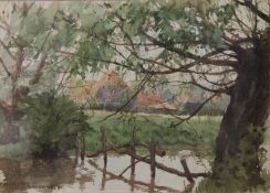 T MARSHALL, Rooks Farm, watercolour, signed and dated '91, framed and glazed. 25 x 17.5 cm.
