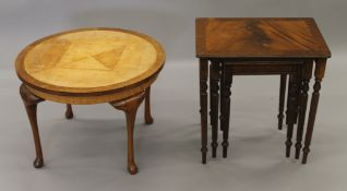 An early 20th century coffee table and a nest of tables. The former 60 cm diameter.