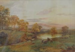 J HILL, Sheep in a Landscape, watercolour, signed, framed and glazed. 46 x 32.5 cm.