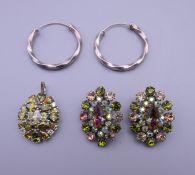 A pair of sterling silver twisted hoop earrings,