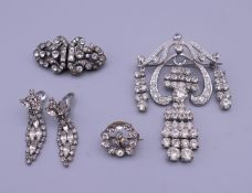 A diamond paste duette brooch, a pair of diamond paste drop clip-on earrings,
