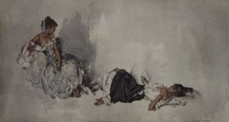 WILLIAM RUSSELL FLINT, Spanish Beauties, print, framed and glazed. 58 x 32.5 cm.