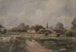 ARTHUR TROWSDALE, Village Landscape, watercolour, signed, framed and glazed. 33 x 23 cm.