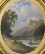 Ladies by a River in a Mountainous Landscape, oil, housed in an oval frame. 40 x 47 cm.