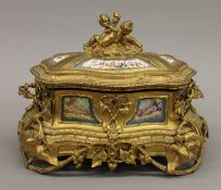 A 19th century Continental painted porcelain mounted ormolu casket. 25 cm wide.