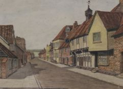 F H CASTLE, West Wycombe Street Scene, watercolour, signed, framed and glazed. 35 x 25.5 cm.