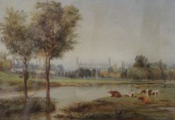 J BRIDGES, Eton College from the River, watercolour, signed and dated 1832, framed and glazed.